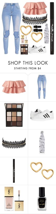 """""""Untitled #1405"""" by cashtonlv ❤ liked on Polyvore featuring Trish McEvoy, adidas, Charlotte Russe, S'well, Maybelline, Marc by Marc Jacobs, Yves Saint Laurent and Barry M"""