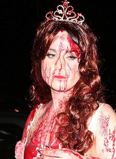 Carrie hair and makeup.  Such a scary movie!  #halloween #makeup #carrie #hair #blood #cosmetology #aesthetics