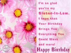 I Am Glad,You Are My Sister-in-Law...Happy Birthday.