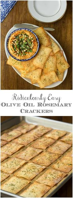 With just three ingredients and no mixing, kneading or rolling, these Ridiculously Easy Olive Oil Rosemary Crackers take 15 minutes from start to finish!