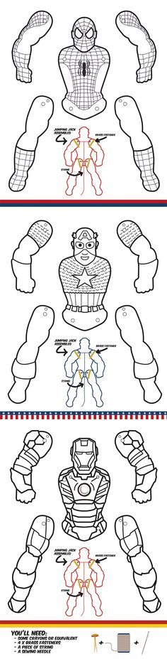 Create your own Superhero puppets. Color them the way you want them. Great papercrafts for kids!