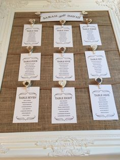 New rustic romance table plan. Hessian with brown string creates a rustic feel. Presented in a stunning vintage frame. Complete with special handmade touches such as wooden pegs with vintage buttons. All comes complete with personalised with table cards. Great for a vintage and country style wedding.