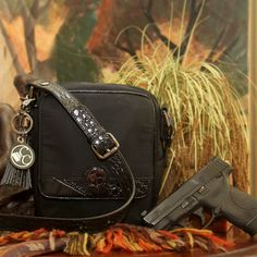 Concealed Carry Microfiber & Leather Cross Body Compact Handbag Gun Purse