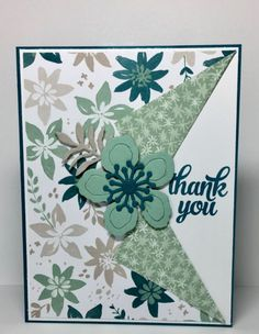 Blooms & Bliss Collar Fold Card A simple creative fold thank you card using the Blooms & Bliss DSP, Tin of Cards stamp set and the Botanical Builder Framelits from Stampin' Up! Homemade Greeting Cards, Making Greeting Cards, Greeting Cards Handmade, Homemade Cards, Handmade Thank You Cards, Fancy Fold Cards, Folded Cards, Karten Diy, Stamping Up Cards