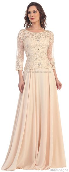 3/4 SLEEVE MODEST MOTHER of THE GROOM DRESS DEMURE BODICE EVENING FORMAL GOWN   #Dress