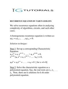 recurrence-equations by Tarun Gehlot via Slideshare