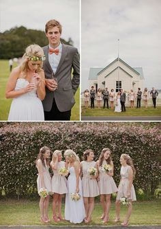 nude bridesmaid dresses and grey blazers... love the idea of the bride's gown being the only long dress