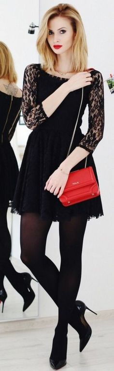 Black contrast lace sleeve skater dress, red shoulder bag, blak tights, black booties | Dressup for different occasions | Beauty Fashion Shopping #black