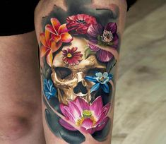 Photo - Awesome 3 colors realistic tattoo style of Skull with Flowers motive done by tattoo artist Sergey Butenko Pretty Skull Tattoos, Feminine Skull Tattoos, Skull Tattoo Flowers, Skull Girl Tattoo, Sugar Skull Tattoos, Skull Tattoo Design, Beautiful Tattoos, Flower Tattoos, Tattoo Foto