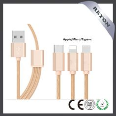 REYON new 3 in 1 (Mirco usb , iphone  ,type c ) braided charging cable