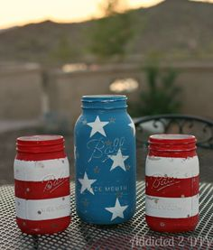 images of 4th of july/americana decor | Our final project is by 'Addicted 2 DIY', these DIY patriotic jar ... Mason Jar Diy, Mason Jar Crafts, Drink Sleeves, Coca Cola, Soda, Beverages, Beverage, Drinks, Soft Drink