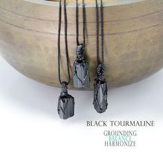 Black Tourmaline pendant necklace, Natural raw stone, Grounding stone Tourmaline Stone, Black Tourmaline, Stone Necklace, Beaded Necklace, Pendant Necklace, Tumbled Stones, Natural Shapes, Stone Pendants, Necklace Lengths