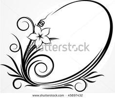 Elegant oval frame with flower by Shpak Anton, via ShutterStock