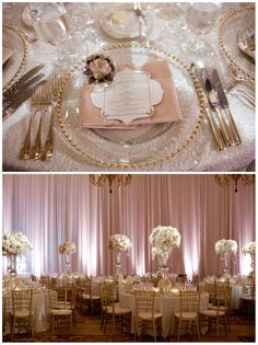Briana & Robert's Wedding, Montage Beverly Hills | Details Details - Wedding and Event Planning, elegant and lavish wedding, sequin linens, white and blush color palette, lush floral, tall floral centerpieces, hanging crystals, gold chivaris                                                                                                                                                     More