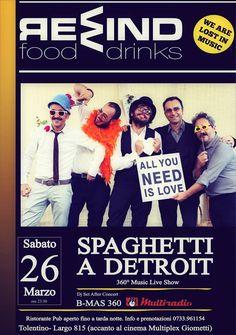 Sabato 26 marzo al Rewind serata live con Spaghetti a Detroit Official ed a seguire Dj set by Simone Bmastrecentosessantagradi Vitturini Ingresso libero Per info e prenotazioni cena 0733/961154