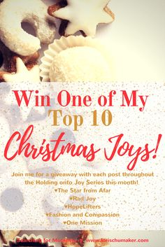 I love gift giving! As a matter of fact, it's one of my love languages and one of my favorite Christmas joys! This month I'm talking about Holding onto Joy and I'm doing giveaways of my favorite things with each post! Stop by to enter to win one of these fabulous products from The Star from Afar, Rad Joy, HopeLifters, Fashion & Compassion, and ONE Mission! - #MomentsofHope Link-Up - Lori Schumaker