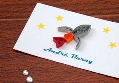 Rocketship and Stars Quilled Cards