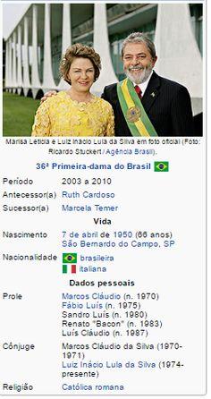 Marisa Letícia Lula da Silva  GCC  •  GCL , nascida  Marisa Letícia Rocco Casa  ( São Bernardo do Campo ,  7 de abril  de  1950 )...