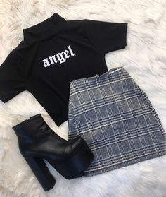 clothes for women,casual outfits,base layer clothing,casual outfits Cute Comfy Outfits, Edgy Outfits, Mode Outfits, Retro Outfits, Girls Fashion Clothes, Teen Fashion Outfits, Outfits For Teens, Preteen Fashion, Style Clothes