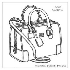 LOEWE - AMAZONA BAG - Designer Handbag Illustration / Sketch / Drawing / CAD / Borsa Disegno