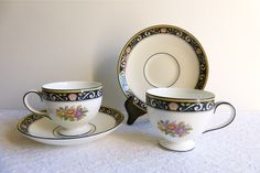 Two Vintage Wedgwood 'Runnymede' Bone China Teacup & Saucer Sets, Made in England. Perfect for a Vintage Tea Party, Gift or Styling Prop by VintageTeaTreasures on Etsy