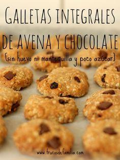 Galletas integrales de avena y chocolate