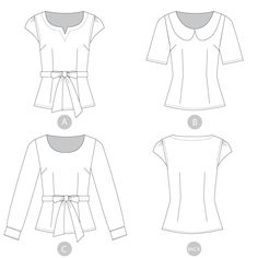 Alma Blouse sewing pattern by Sewaholic Patterns, fitted blouse with Peter Pan collar, peter pan collar blouse sewing pattern with long sleeves or short sleeves, women's fitted woven top for work or casual wear.