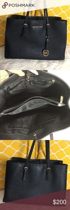 """🌸OFFERS?🌸Michael Kors All Leather Black Tote 🌷Authentic🌷Great condition. Minimal wear on the handle. Doesn't affect functionality still a sturdy purse and holds your everyday essentials well. All parts present and functional. Features top handle, center clasp to close, 5 pockets inside, keyfob, MK charm and metal feet for protection. Decent size not too big and not small. Carry it by hand/arm or shoulder. Don't be shy to make an offer💕 Dimensions: L15"""" H10"""" Bottom Width6"""" Handle Drop9""""…"""