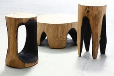 Kasper Hamachers uses fire and wood in producing stools. #wood #furnituredesign #stool #burnt #firewood #homedecor #sit #furniture #organic #natural #recyclable #sustainable by design.selects