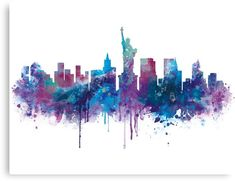 New York City's Skyline Printed Art Board. The City of New York, often called New York City (NYC) or simply New York (NY), is the most populous city in the United States. New York Canvas, New York Art, Watercolor Illustration, Watercolor Paintings, New York Cityscape, Cityscape Art, New York Drawing, New York Tattoo, City Skyline Art