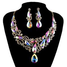 Aurora AB color Statement Crystal earrings set Bridal Wedding Jewelry sets Waterdrop Rhinestone Women party Accessories Jewelry