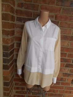 VINCE Size 8 Mixed Media Button Up Shirt $295 Top 100% Silk V244011098 Blouse #Vince #Blouse #Casual