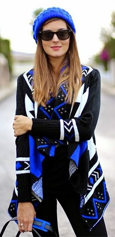 Black Royal Blue White Long Sleeve Southwestern Open Cardigan Sweater