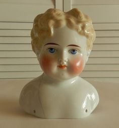 On Hold For Carolyn ~ Large Antique Blonde China Doll Head ~ Damaged and Repaired Shoulder ~ 1903 (?)