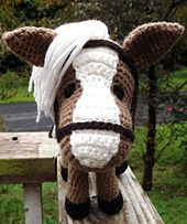 This pattern is to show you how to make a crochet horse amigurumi with removable bridle, saddle, and saddle blanket. You will need to know basic crochet stitches such as, chain, single crochet, triple crochet, slip stitch, how to increase and decrease. Also how to work in the round and in rows. There are lots of pictures included to help you along the way. I hope you enjoy this pattern :)