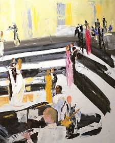 Live-event artist Greg Kalamar used acrylic paints on canvas to illustrate the reception. By the time the last glass of Champagne had been poured, he had committed the revelry to canvas, capturing a scene as well designed as any couture gown, with every flourish in its rightful, beautiful place.