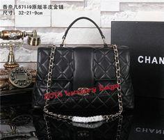 450797cdb52 Chanel A67119 Top Handle Bag Sheepskin Leather Black