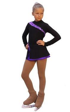 IceDress Figure Skating Dress-Thermal - Lasso(Black with Purple)