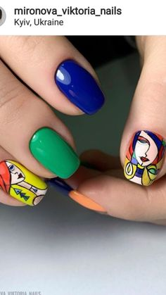 Pretty Nail Designs, Short Nail Designs, Nail Art Designs, Gorgeous Nails, Pretty Nails, Shellac, Gel Nails, Cartoon Nail Designs, Nail Techniques