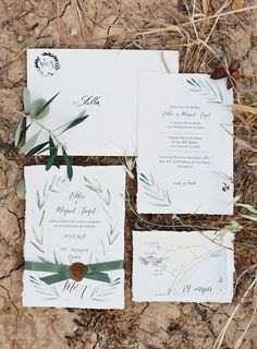 This bride's stationery was inspired by the wild leaves from an olive tree. Click on the image to see the full gallery.