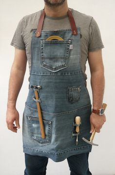 Leather Apron, Sewing Leather, Leather Craft, Jean Apron, Tool Apron, Work Aprons, Woodworking Apron, Denim Ideas, Aprons For Men