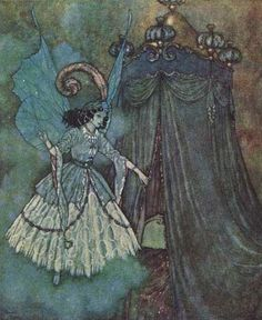 """""""She found herself face to face with a stately and beautiful lady."""" Illustration by Edmund Dulac for """"Beauty and the Beast"""" from 'The Sleeping Beauty and Other Tales From the Old French' by Sir Arthur Quiller-Couch, 1910."""