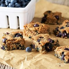 Enjoy these healthier Soft-Baked Blueberry Squares - A soft, moist, and chewy bar, full of delicious fresh blueberries, made with wholesome ingredients.