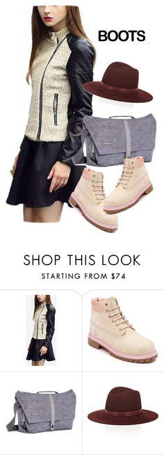 """boots"" by masayuki4499 ❤ liked on Polyvore featuring Timberland, Timbuk2 and Janessa Leone"