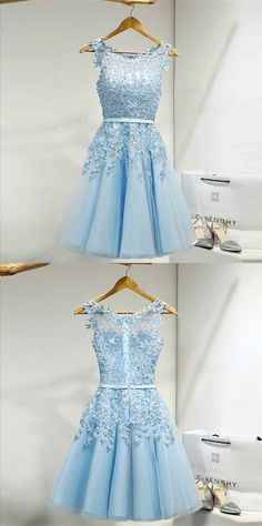 Tulle Homecoming Dress,Appliques Homecoming Dresses,Short Homecoming Dress,Prom Party Dress,Prom Gown My Bridal Hair Dresses Short, A Line Prom Dresses, Prom Party Dresses, Dresses For Teens, Trendy Dresses, Prom Gowns, Formal Dresses, Dress Prom, Blue Dresses