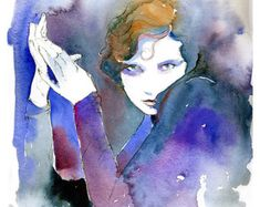 Print Fashion Illustration Watercolor Fashion by silverridgestudio