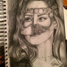 My sketch of a lady from Arabian gulf wearing traditional Buqeu or (battola) pencil