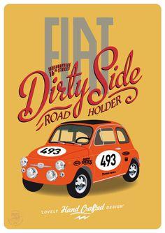 Fiat fiat 500 sport vintage race car poster by ShufflePrints