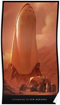 SpaceX spaceship on Mars by Alexandra Hodgson. What could be more sci-fi than musk's absurd promise to colonize mars (in five years, give or take a few decades) Cosmos, Spaceship Design, Spaceship Concept, Arte Sci Fi, Sci Fi Art, Spacex Rocket, Mars Colony, Ouvrages D'art, Science Fiction Art