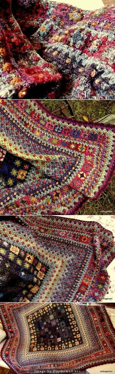 """#Crochet - Granny Squares can sometimes seem repetitious, but not in this extraordinary blanket! It looks like an oriental rug."